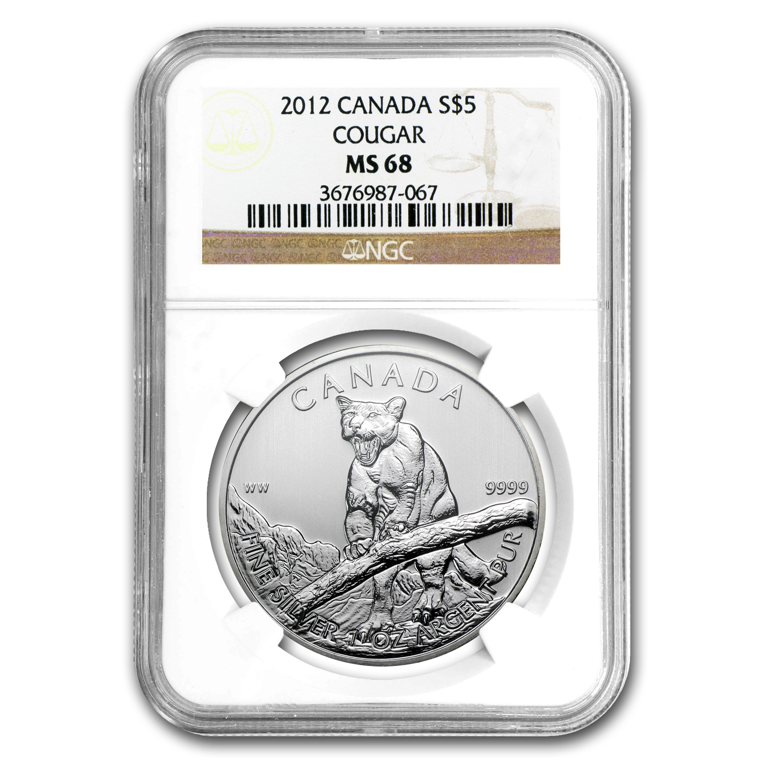 2012 Canada 1 oz Silver Wildlife Series Cougar MS-68 NGC