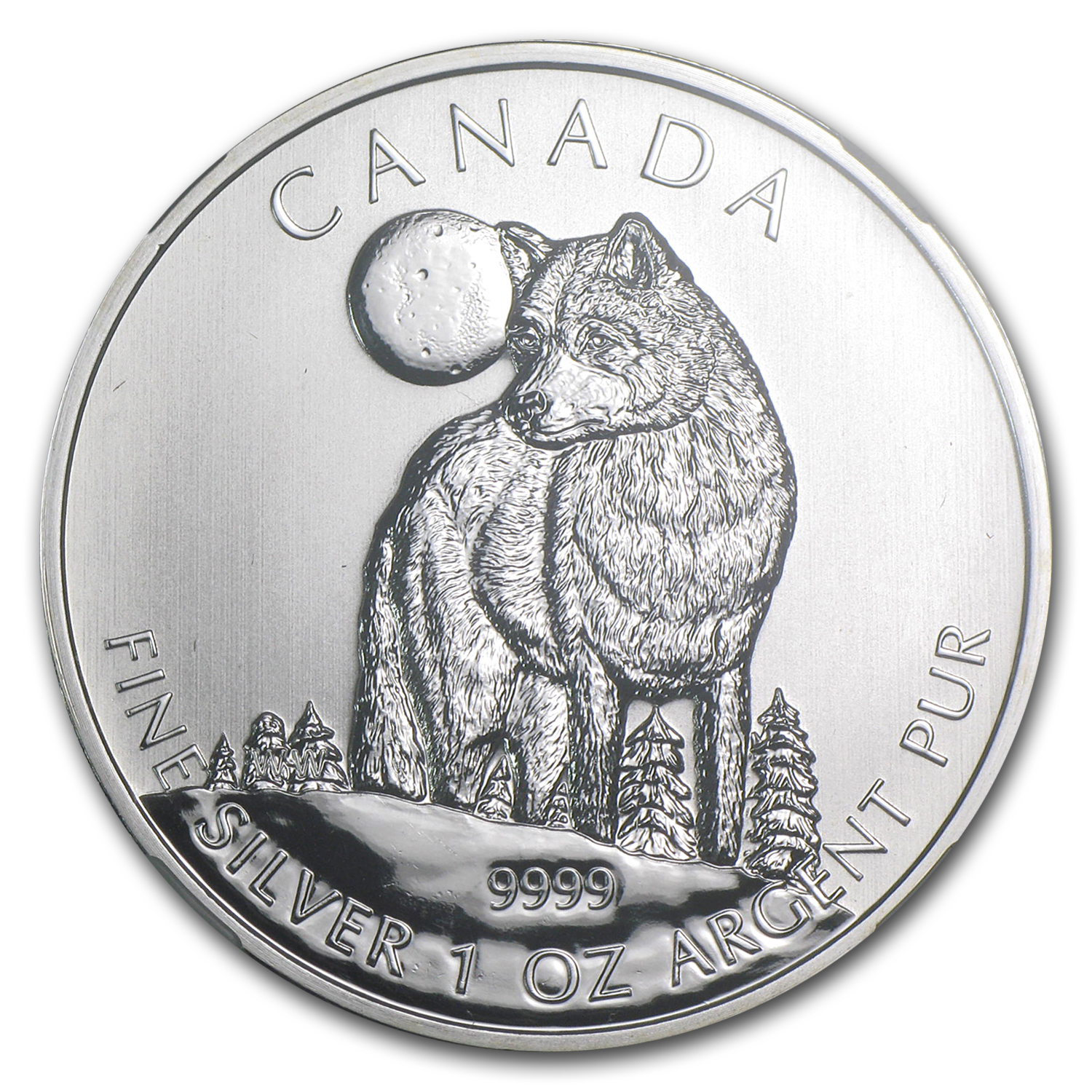 2011 1 oz Silver Canadian Wildlife Series - Wolf MS-68 NGC