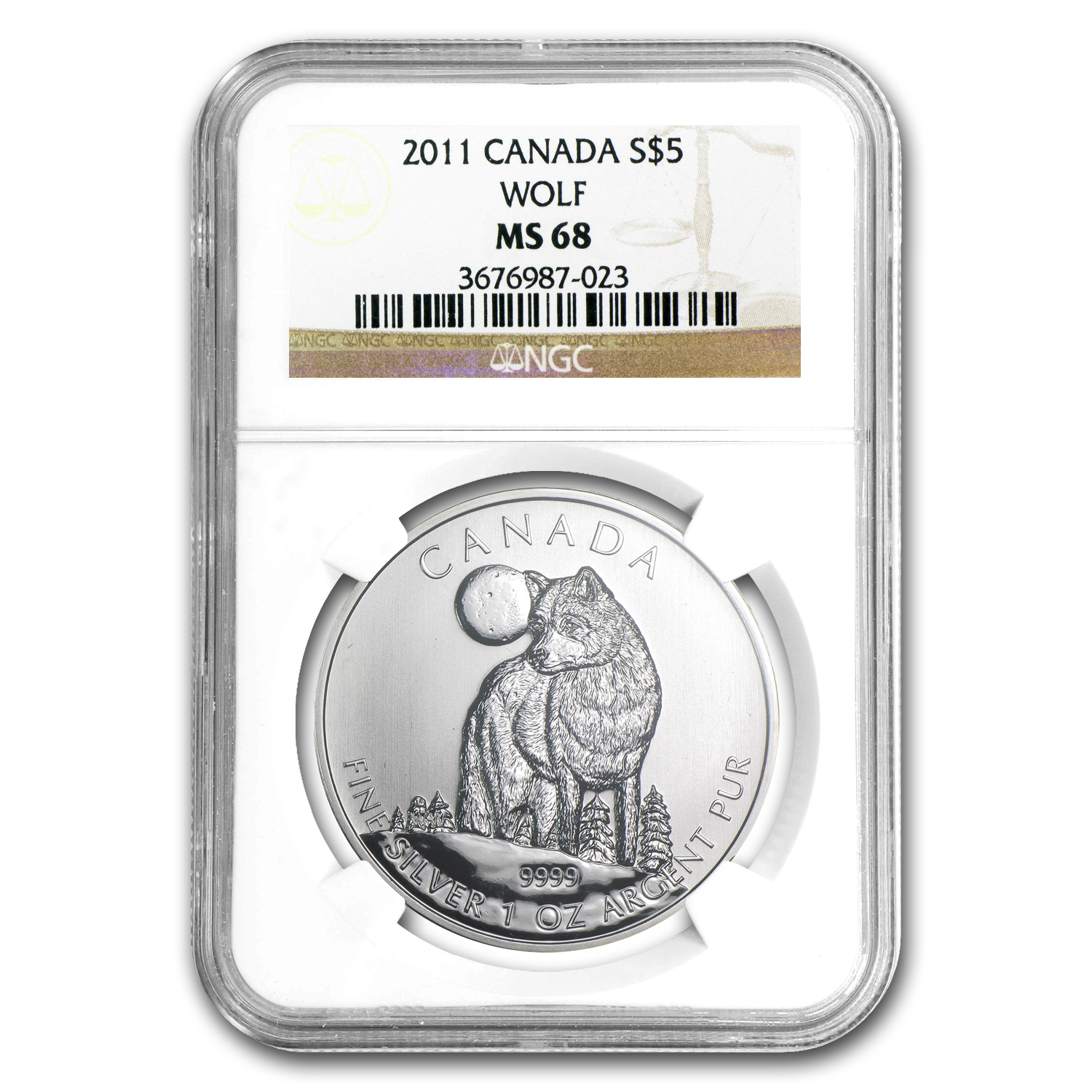 2011 Canada 1 oz Silver Wildlife Series Wolf MS-68 NGC