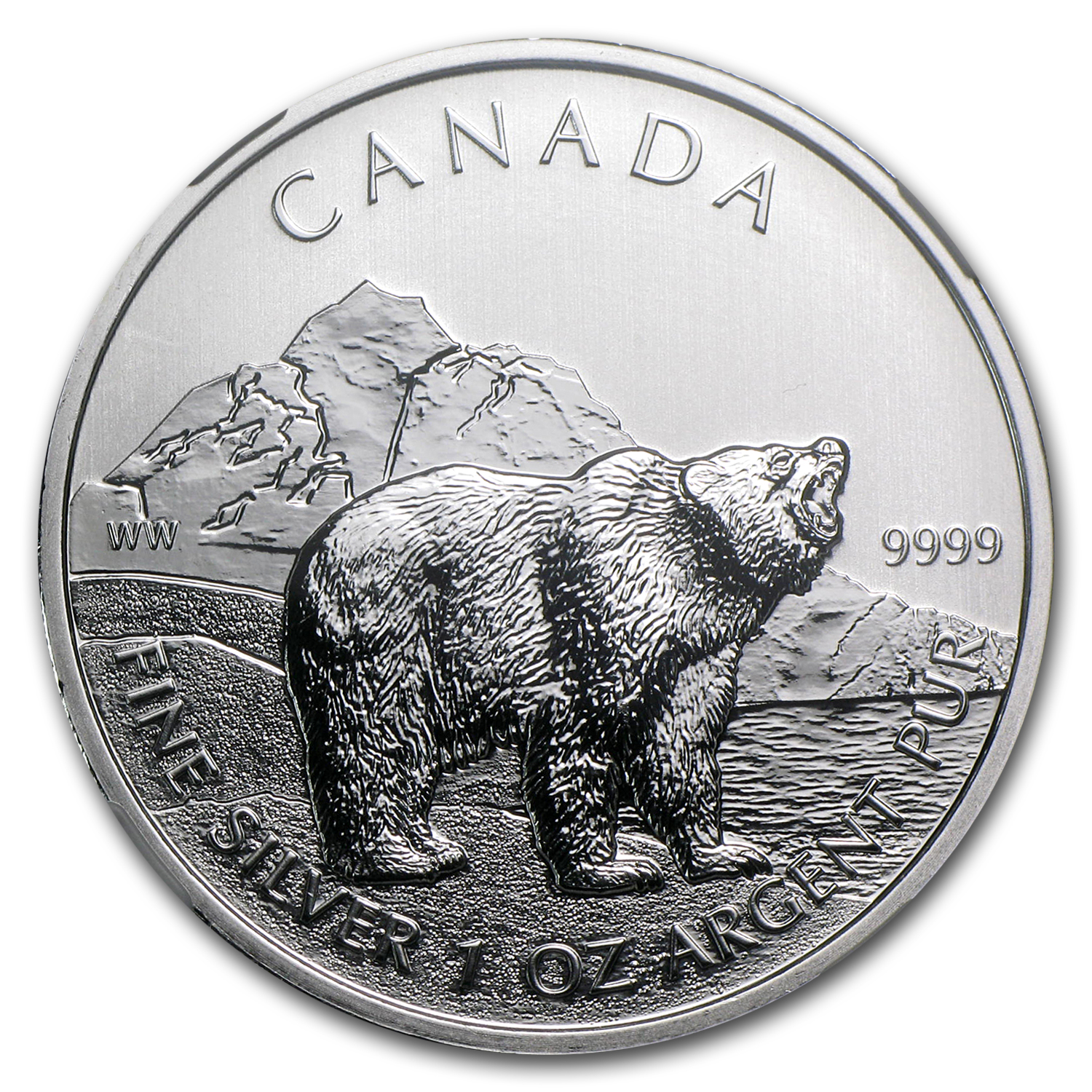 2011 1 oz Silver Canadian Wildlife Series Grizzly MS-68 NGC