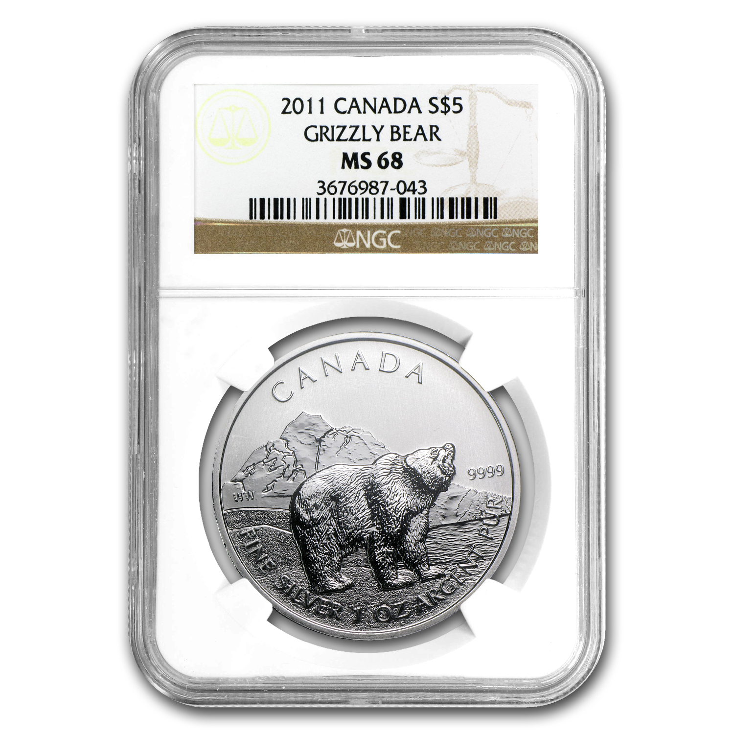 2011 1 oz Silver Canadian Wildlife Series - Grizzly MS-68 NGC