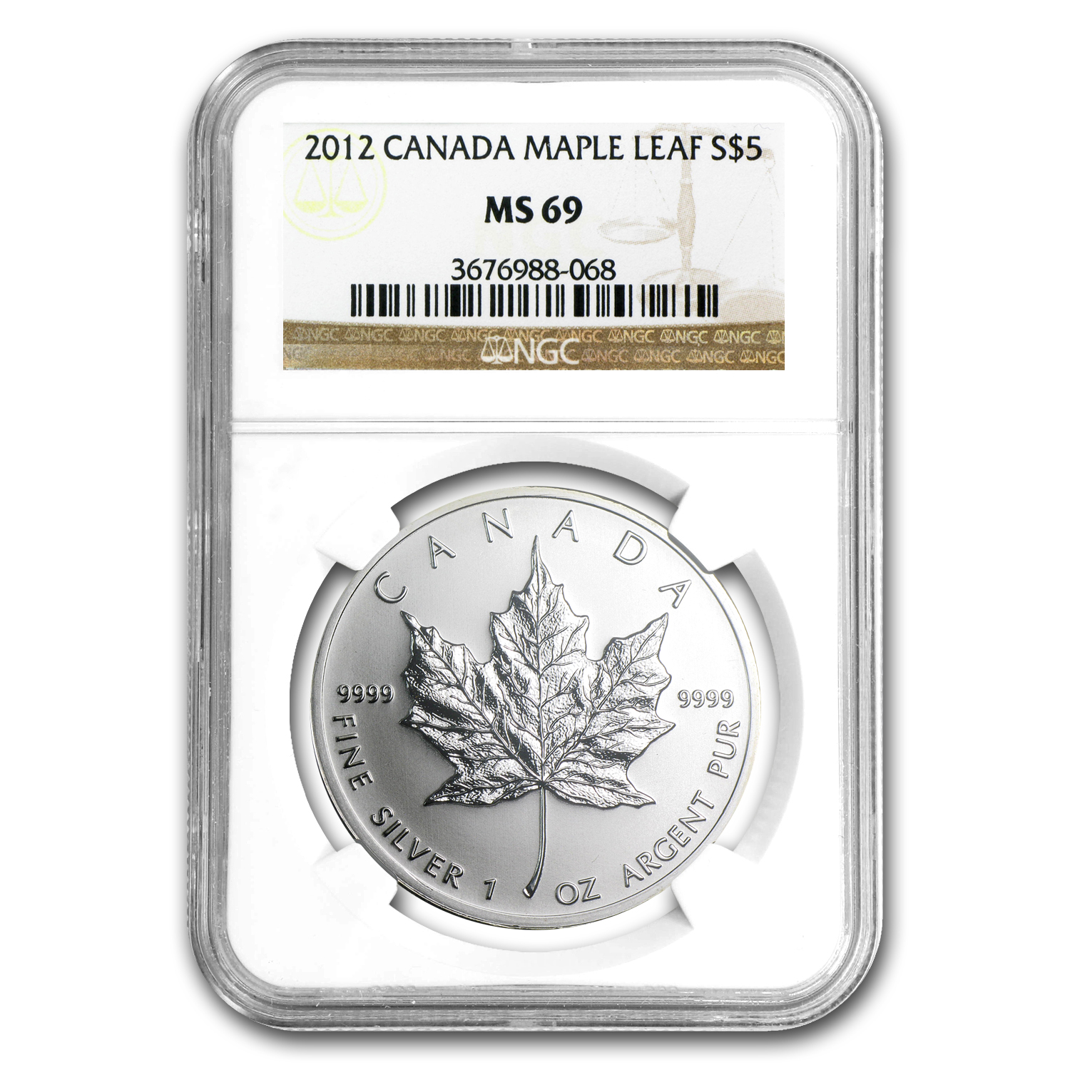 2012 1 oz Silver Canadian Maple Leaf MS-69 NGC