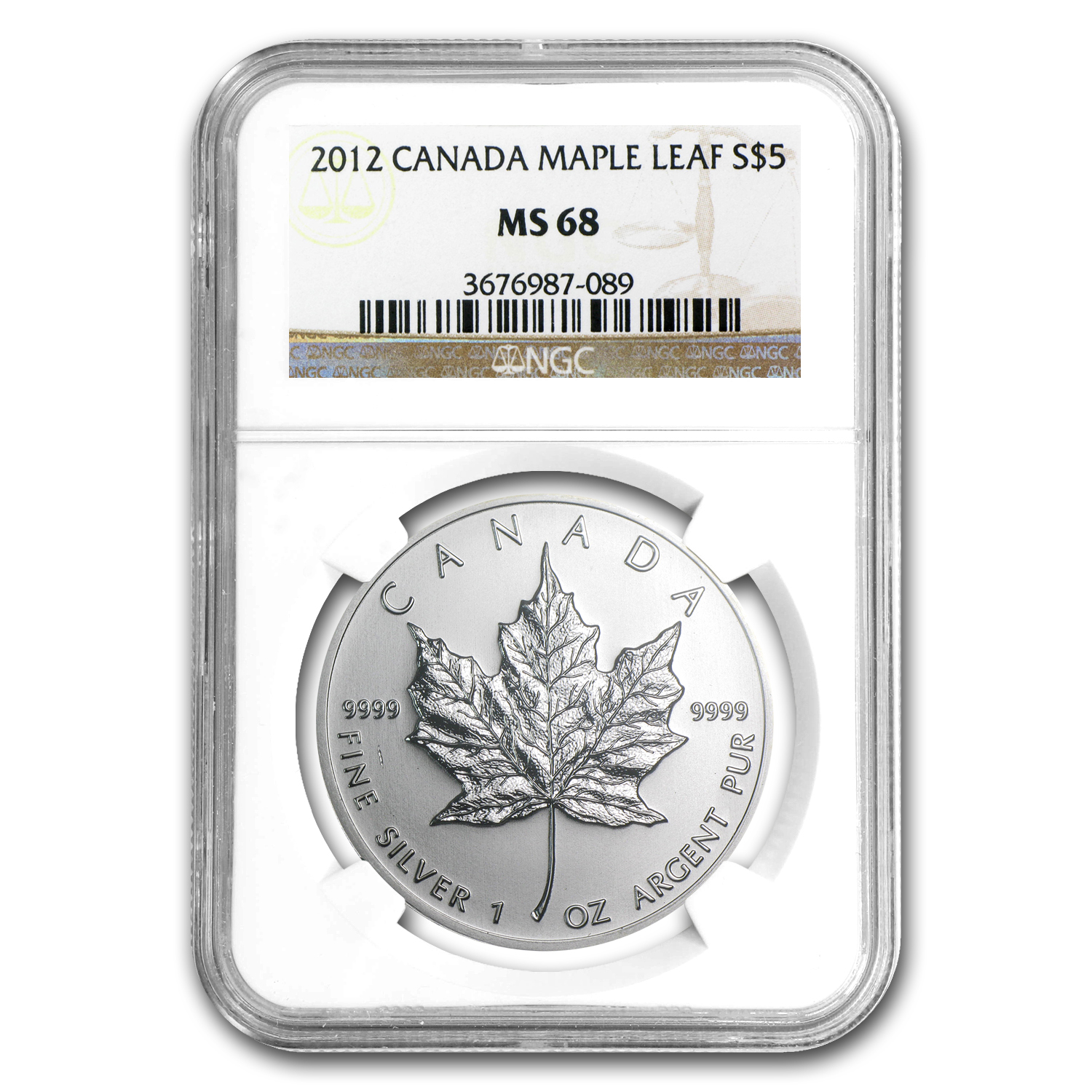 2012 1 oz Silver Canadian Maple Leaf MS-68 NGC