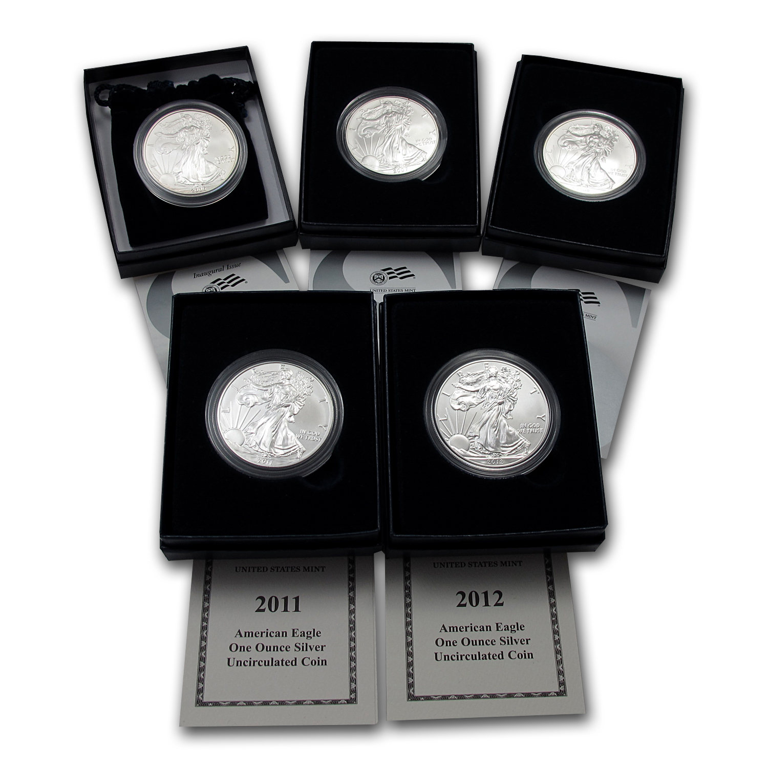 2006-2012 5-Coin Burnished Silver Eagle Set (w/Box & COA)
