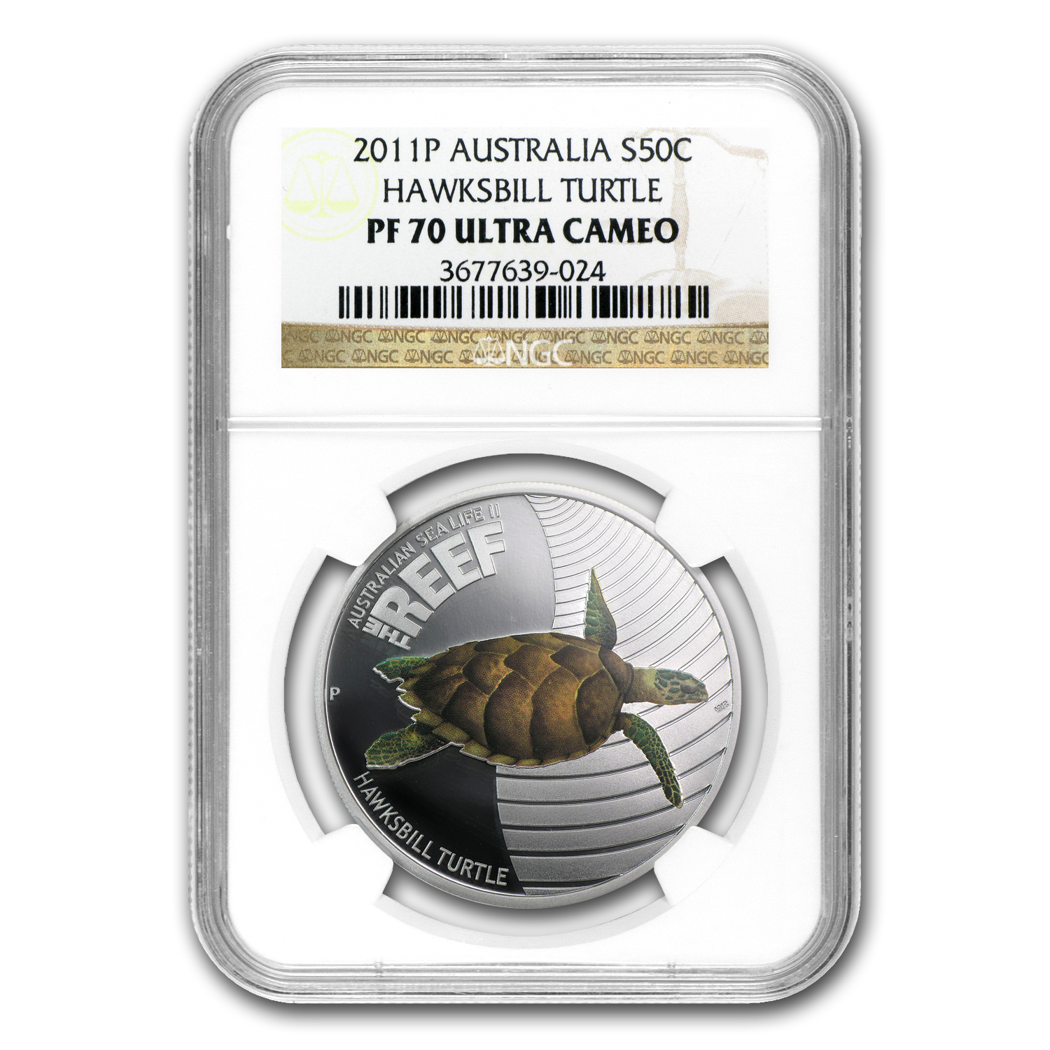 2011 1/2 oz Proof Silver Hawksbill Turtle - Sea Life II NGC PF-70