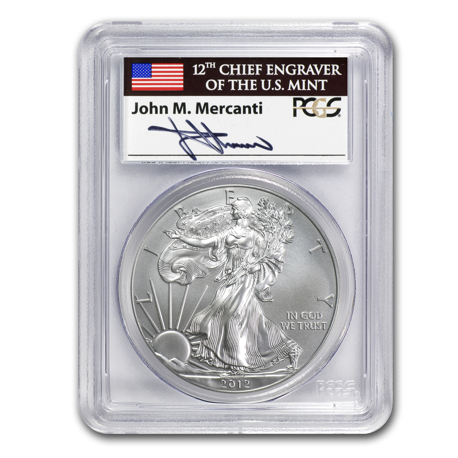 2012-W Burnished Silver Eagle MS-70 PCGS (FS, Mercanti)