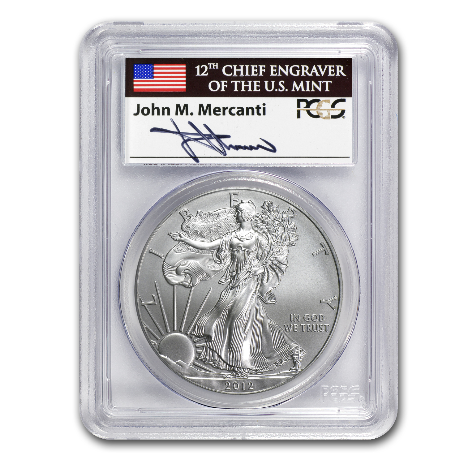 2012-W Burnished Silver Eagle MS-69 PCGS (FS, John Mercanti)