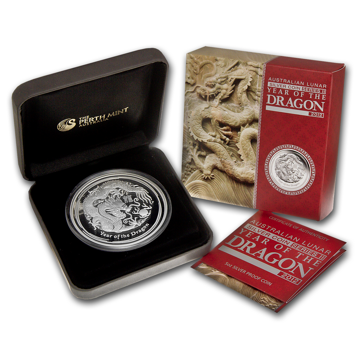 2012 Australia 5 oz Silver Year of the Dragon Proof