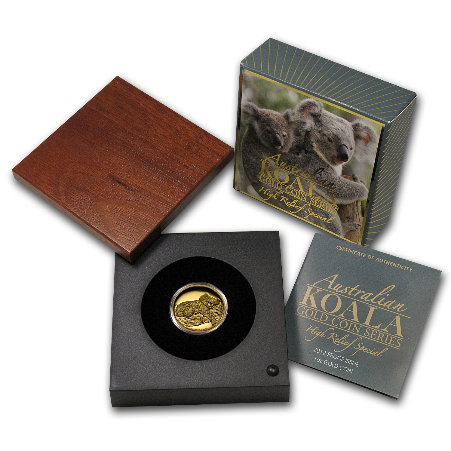 2012-P 1 oz Australian Gold Koala Proof (High Relief, Box & COA)