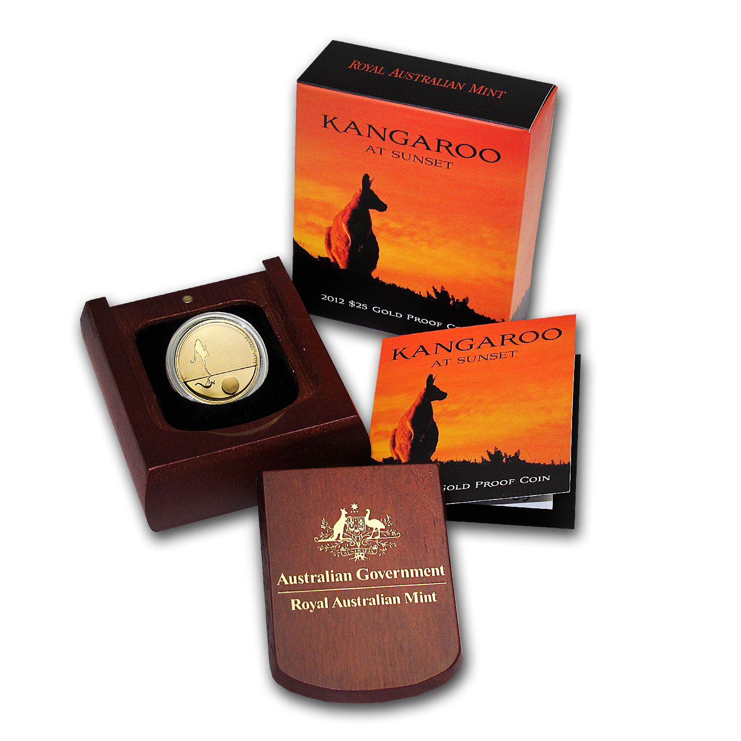 2012 Australia 1/5 oz Proof Gold Kangaroo at Sunset