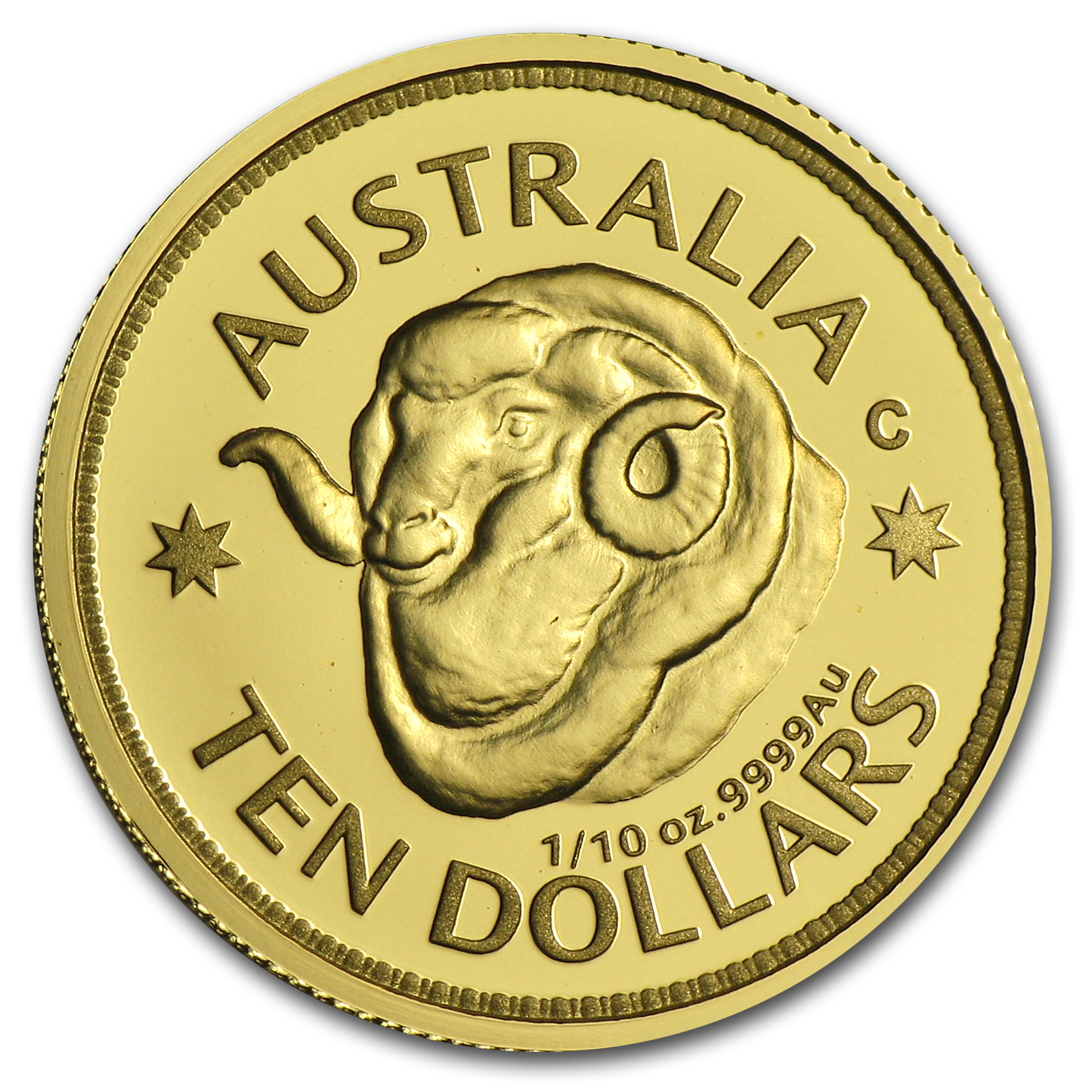 2011 Australia 1/10 oz Proof Gold Ram's Head