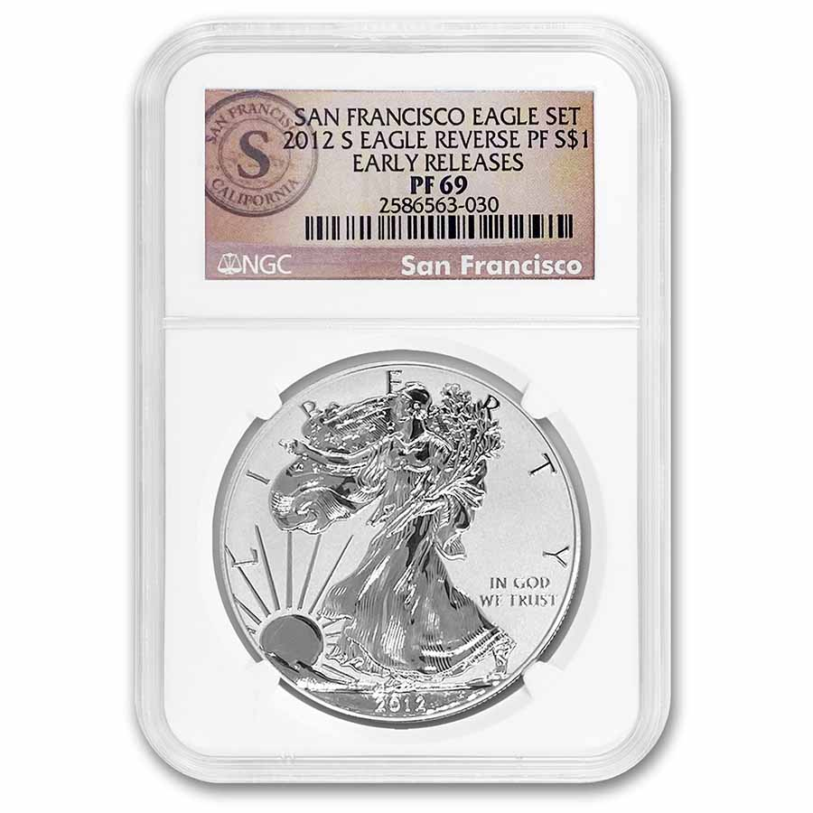 2012-S 2-Coin Proof Silver Eagle Set PF-69 NGC (ER, 75th Anniv)