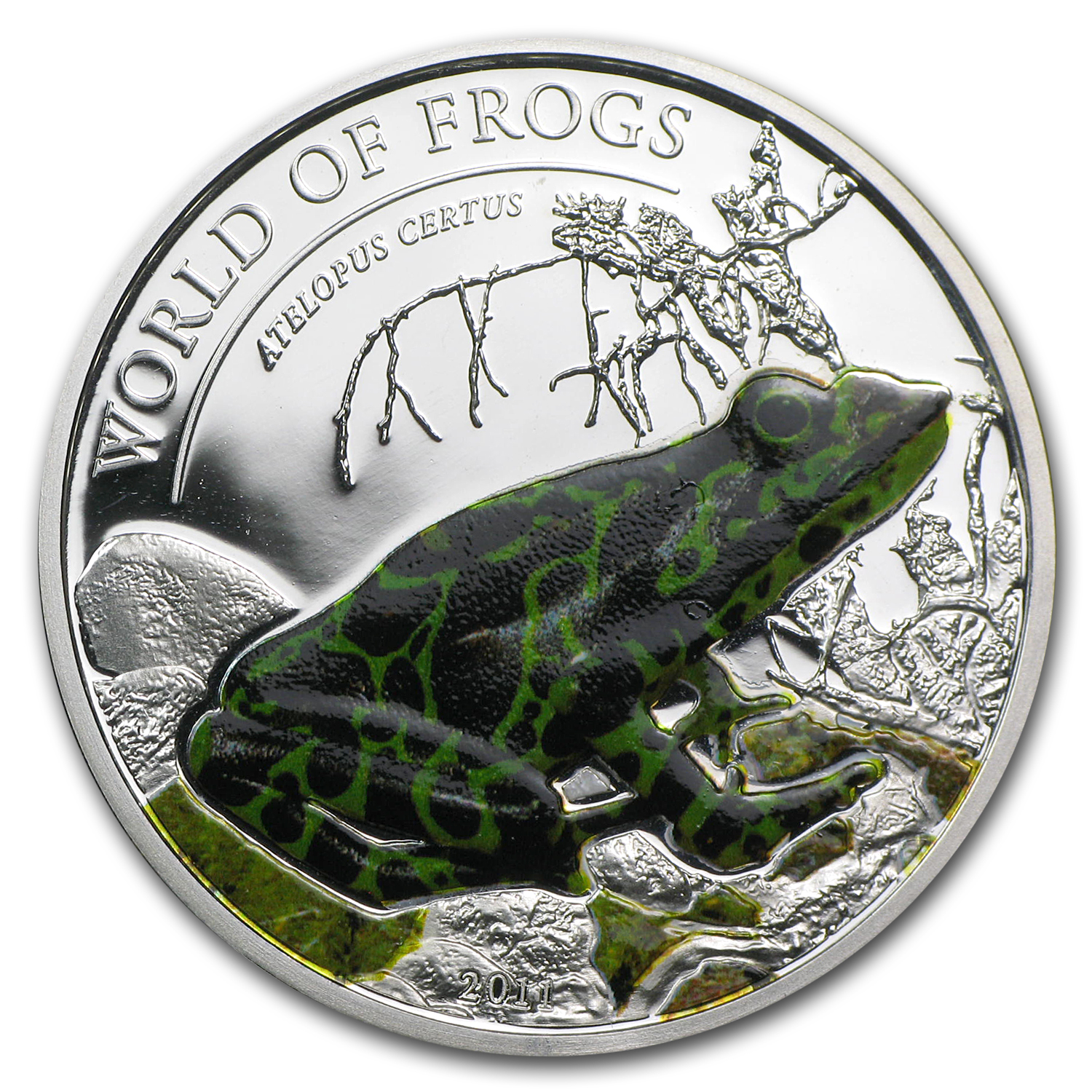 Palau 2011 Silver Proof $2 World of Frogs- Green Atelopus Certus