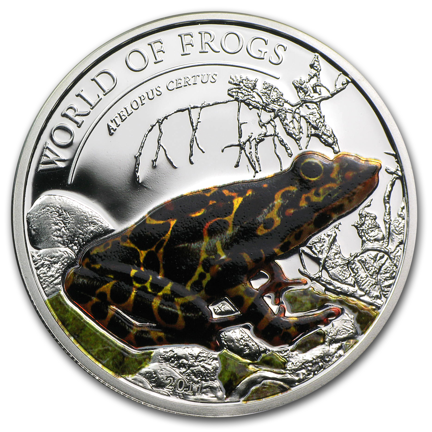 2011 Palau Proof Silver $2 World of Frogs Orange Atelopus Certus