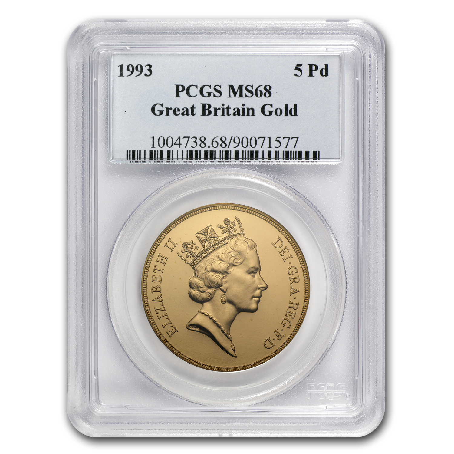 1993 Great Britain Gold £5 MS-68 PCGS