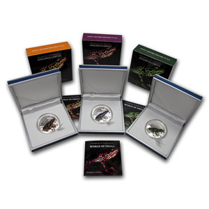 2011 Palau 3-Coin Silver $2 World of Frogs Proof Set