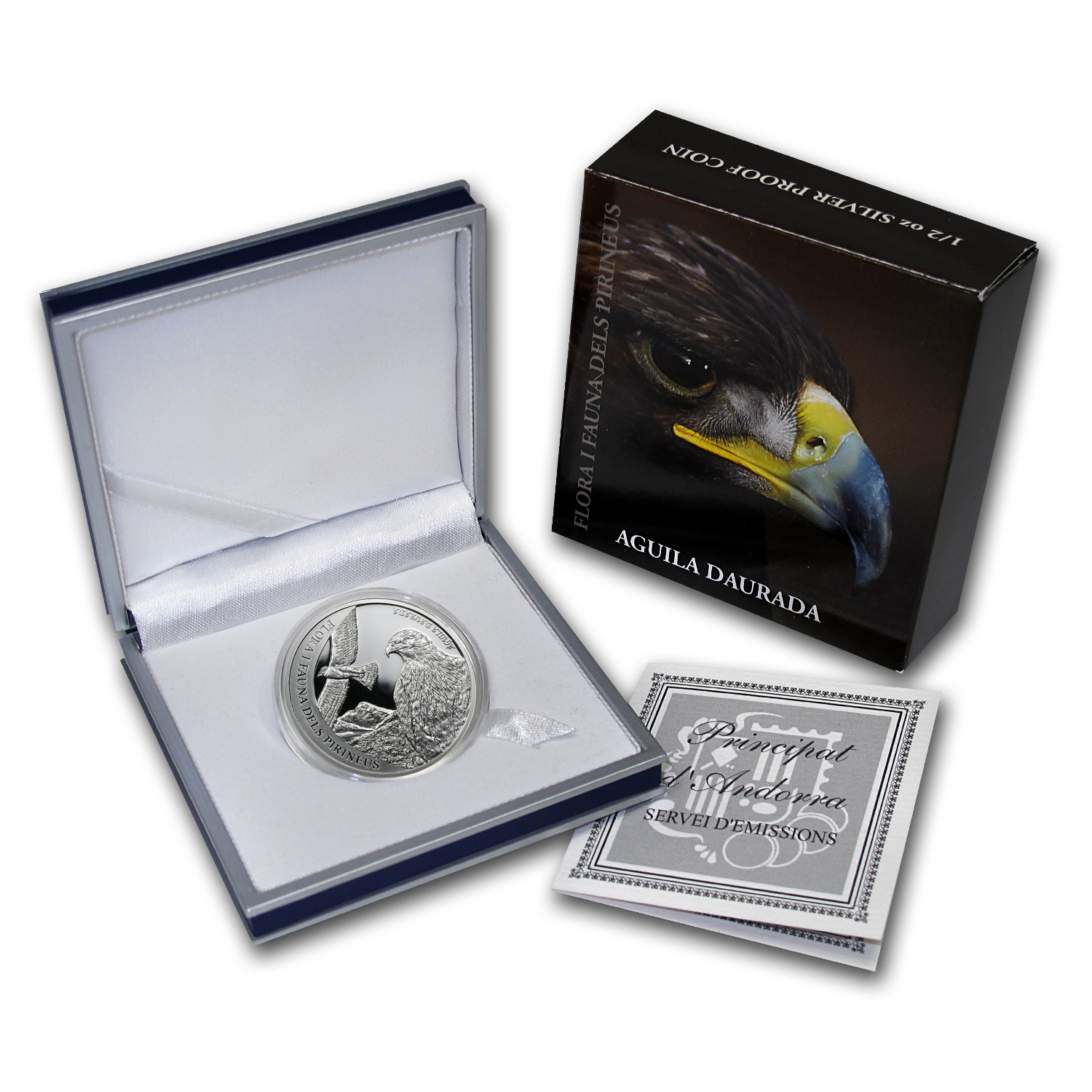 Andorra 2011 Proof Silver 5 D Pyrenees Wildlife - Golden Eagle