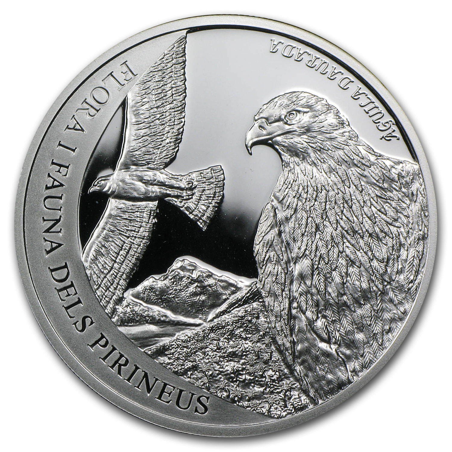 2011 Andorra Proof Silver 5 D Pyrenees Wildlife Golden Eagle