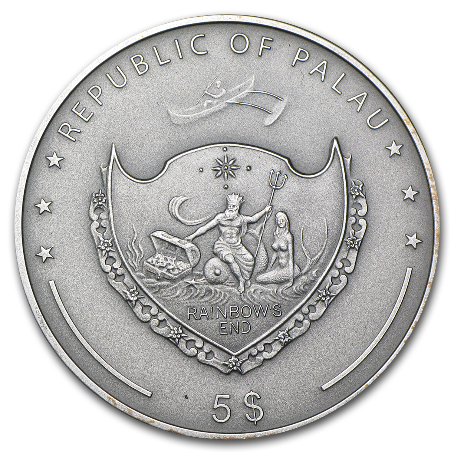 2010 Palau Proof Silver $5 Treasures of the World Sapphire