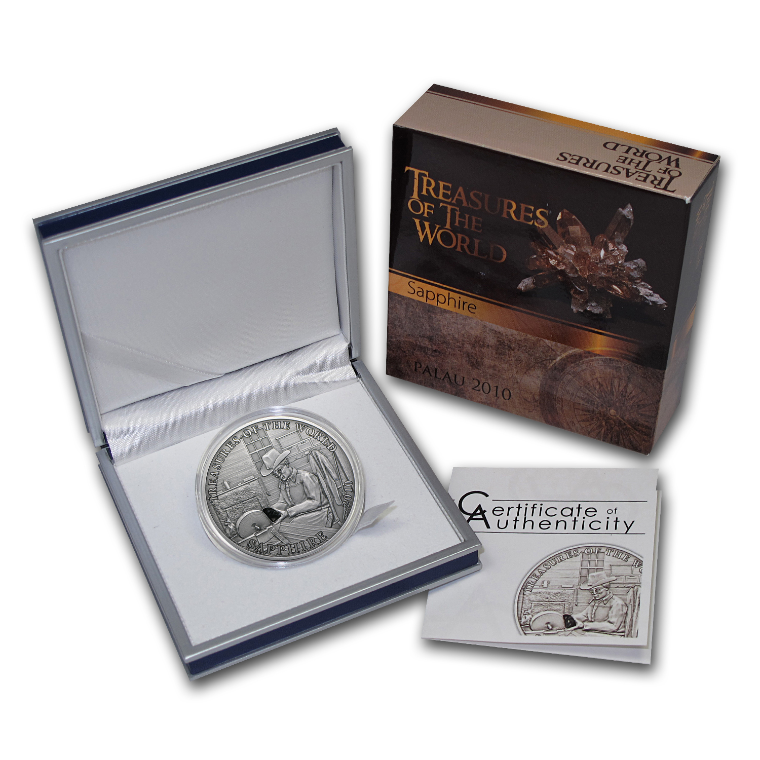 Palau 2010 Silver Proof $5 Treasures of the World - Sapphire