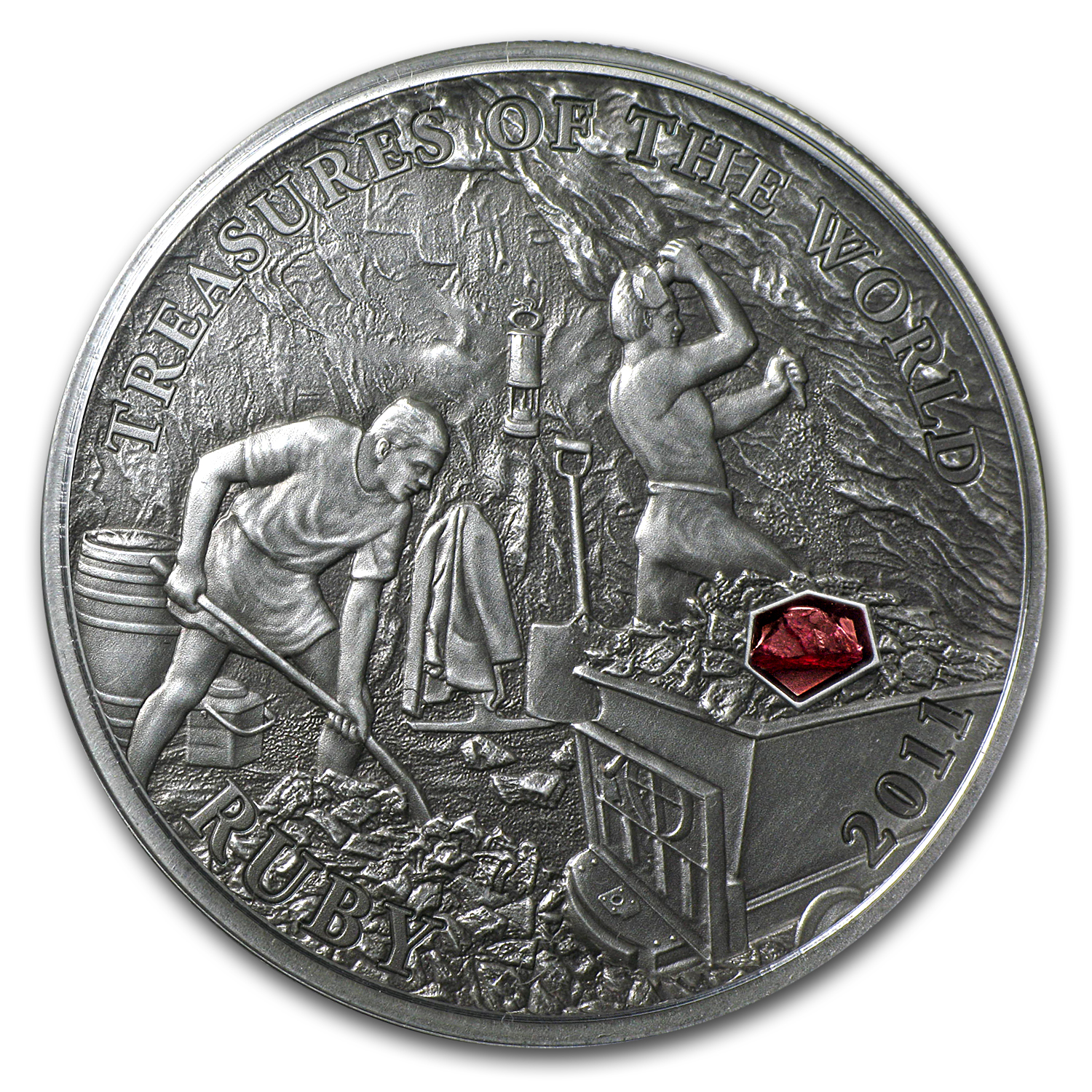 Palau 2011 Silver Proof $5 Treasures of the World - Ruby
