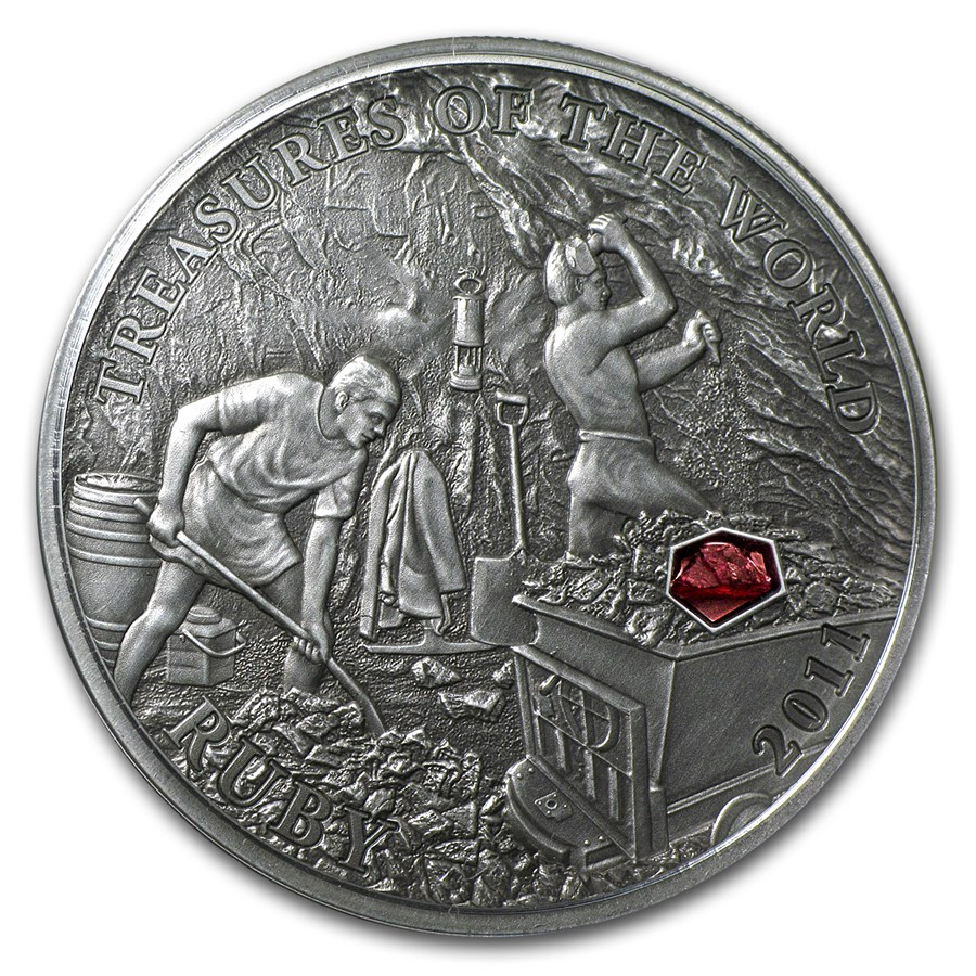 2011 Palau Proof Silver 5 Treasures Of The World Ruby