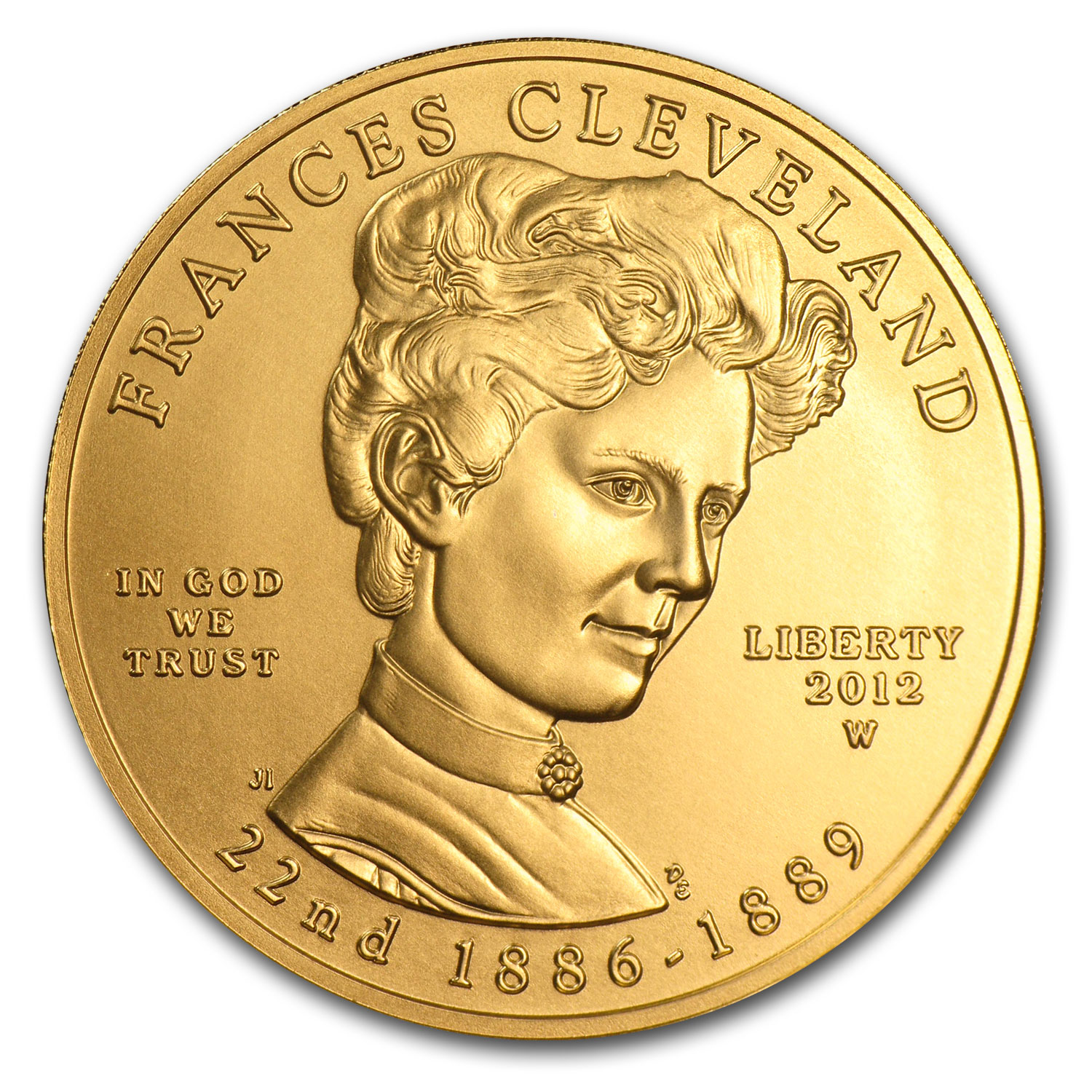 2012-W 1/2 oz Gold Frances Cleveland 1st Term BU (w/Box & COA)