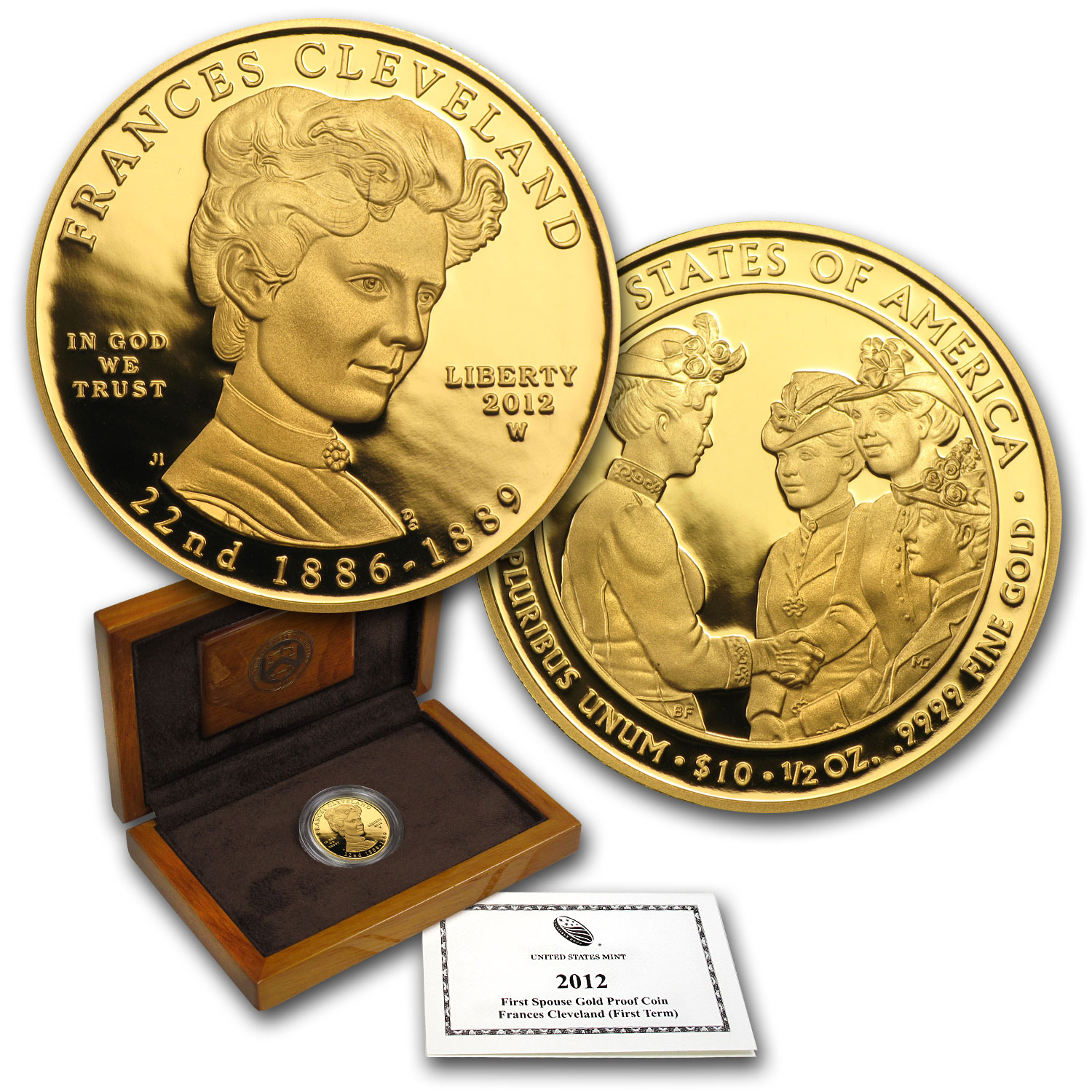2012-W 1/2 oz Proof Gold Frances Cleveland (w/Box & CoA)