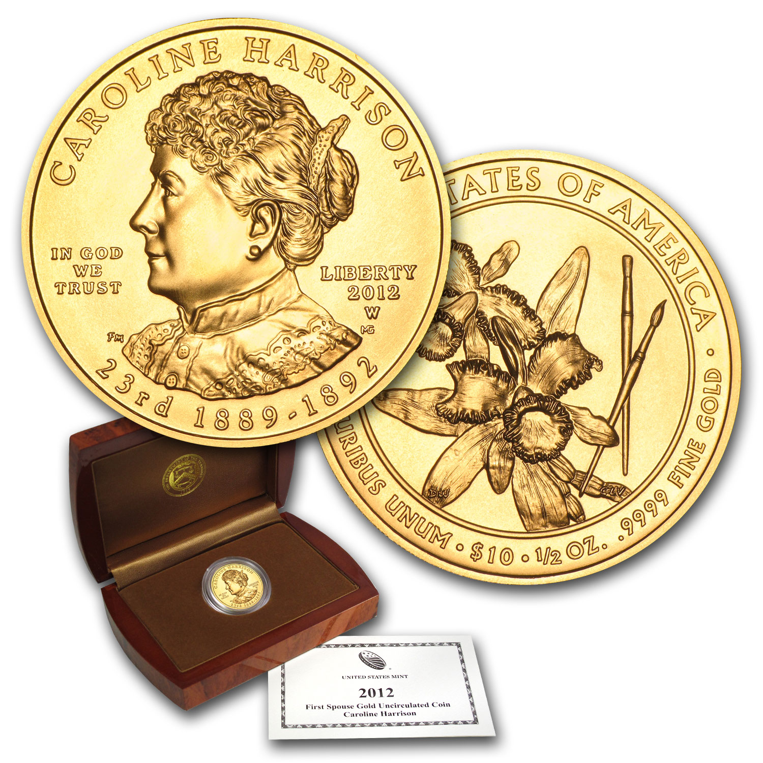 2012-W 1/2 oz Uncirculated Gold Caroline Harrison (w/Box & CoA)