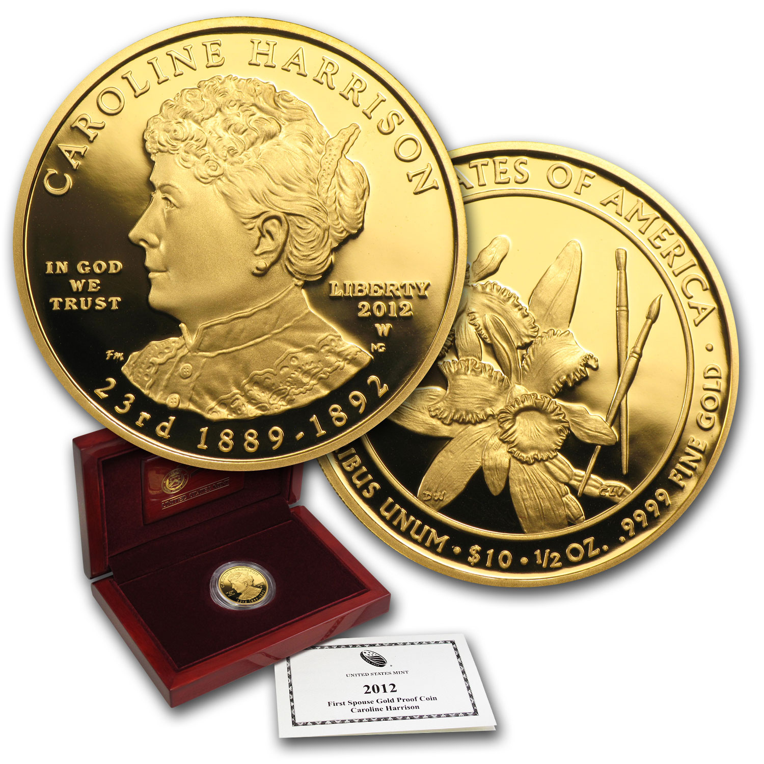 2012-W 1/2 oz Proof Gold Caroline Harrison (w/Box & CoA)