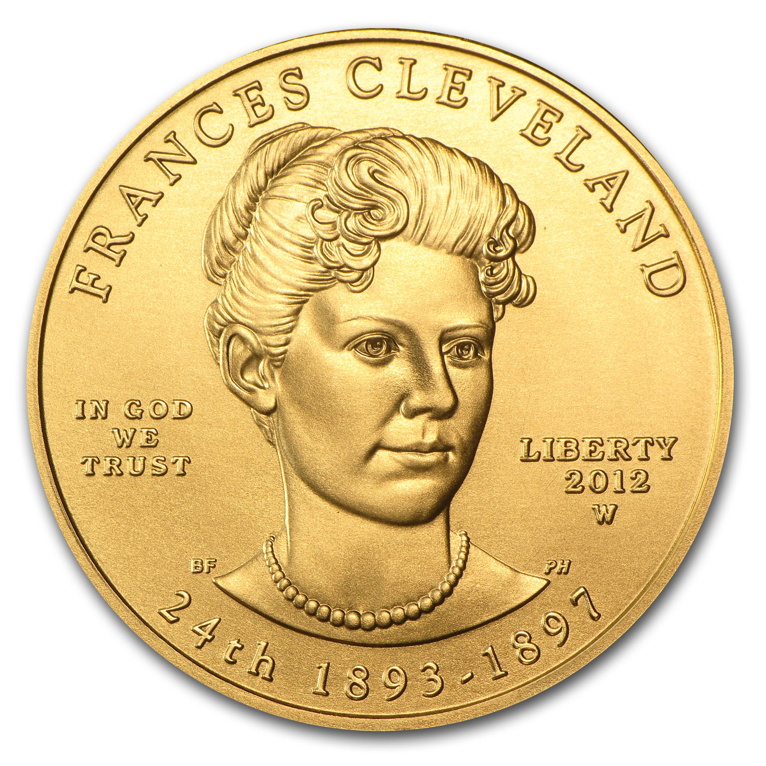 2012-W 1/2 oz Gold Frances Cleveland 2nd Term BU (w/Box & COA)