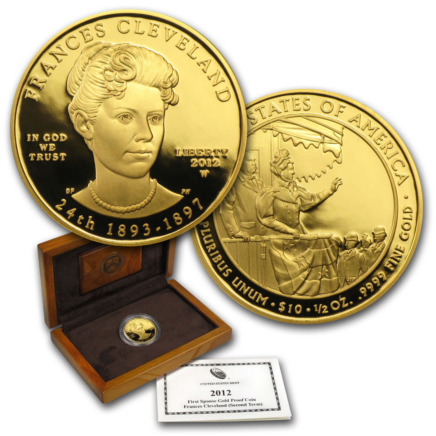 2012-W 1/2 oz Proof Gold Frances Cleveland 2nd Term (w/Box & COA)
