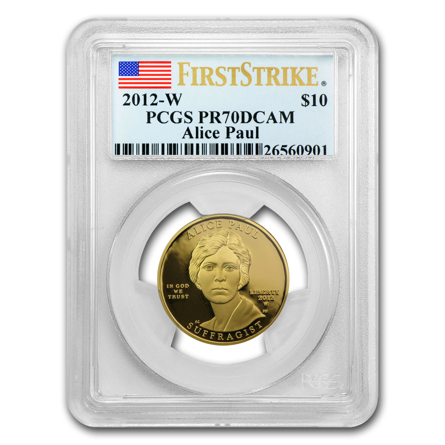 2012-W 1/2 oz Proof Gold Alice Paul PR-70 PCGS (First Strike)