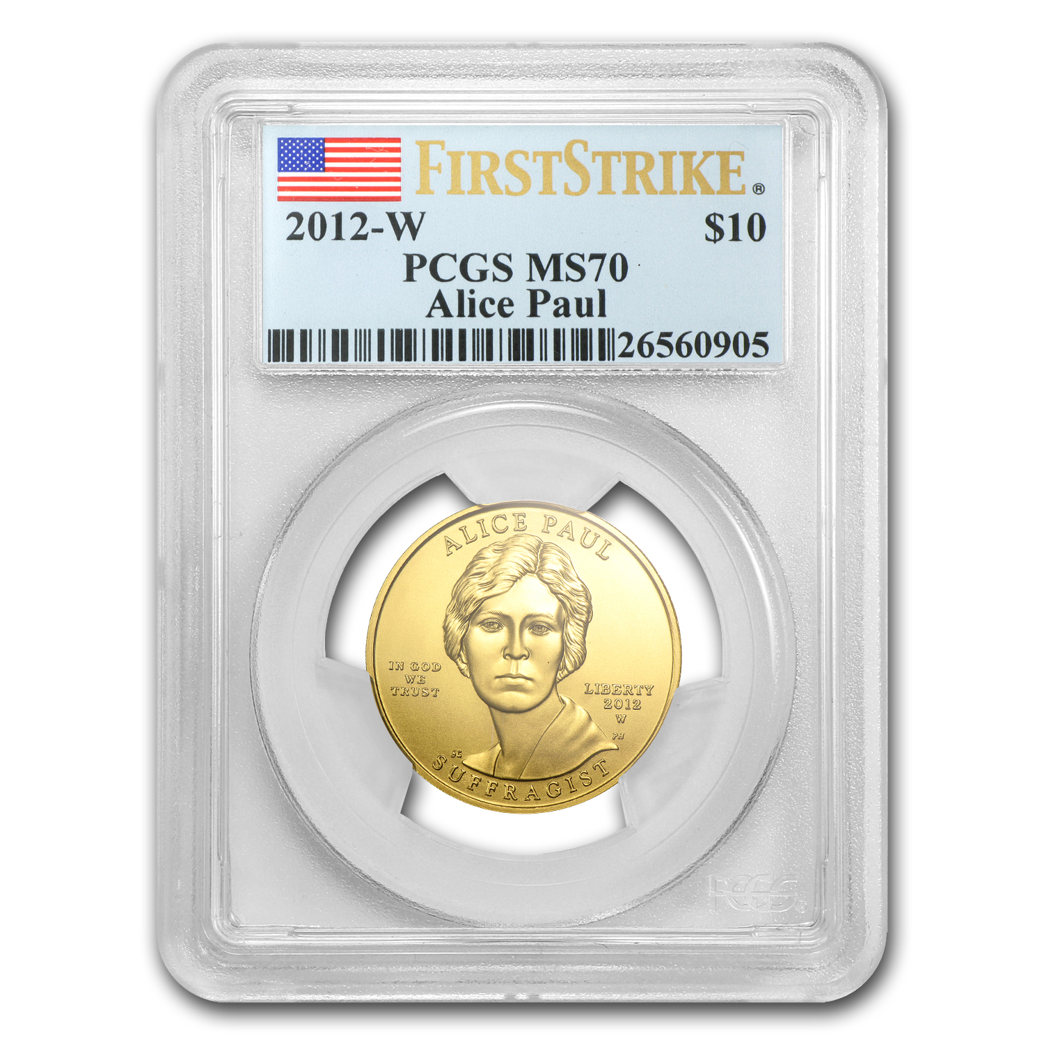 2012-W 1/2 oz Gold Alice Paul MS-70 PCGS (First Strike)