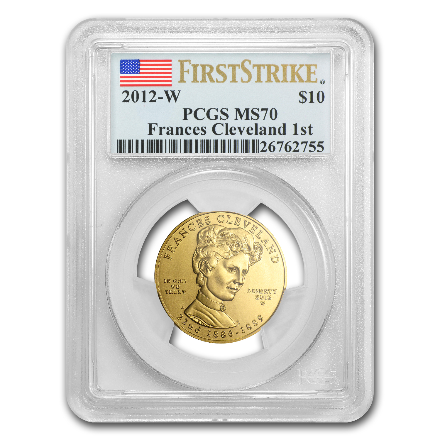 2012-W 1/2 oz Gold Frances Cleveland 1st Term MS-70 PCGS (FS)