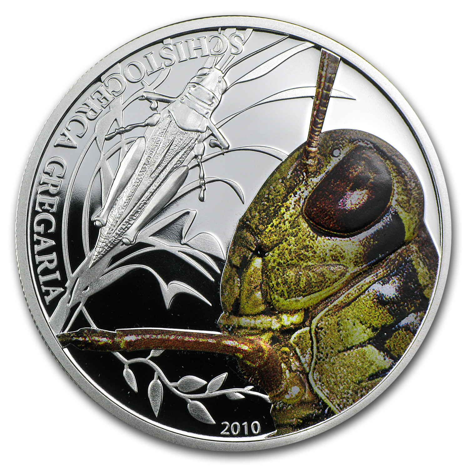 2010 Palau Proof Silver $2 World of Insects Grasshopper