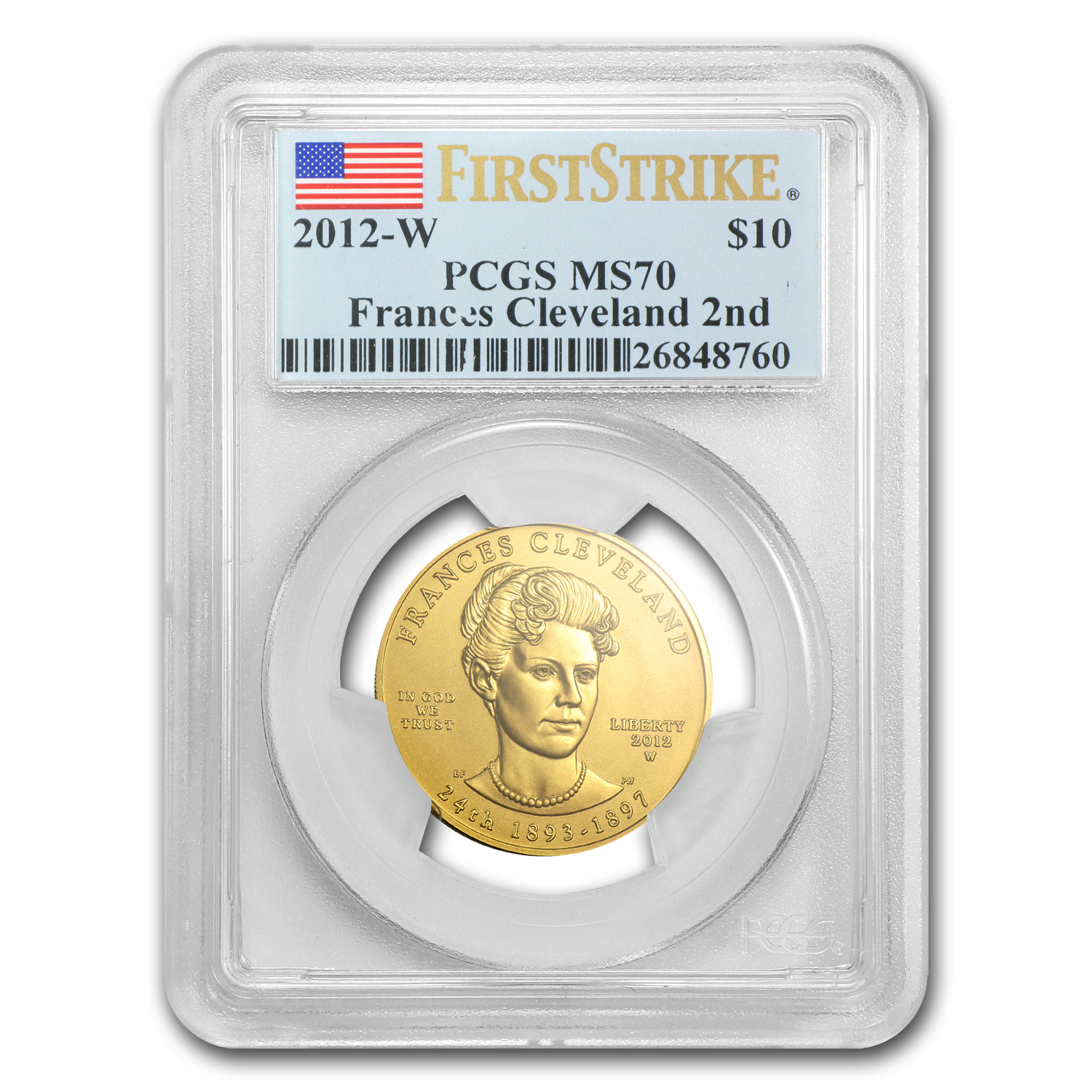 2012-W 1/2 oz Gold Frances Cleveland 2nd Term MS-70 PCGS (FS)