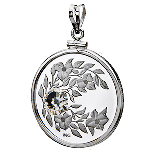 2012 1/4 oz Silver April Birthstone Pendant (Plain-Front Bezel)