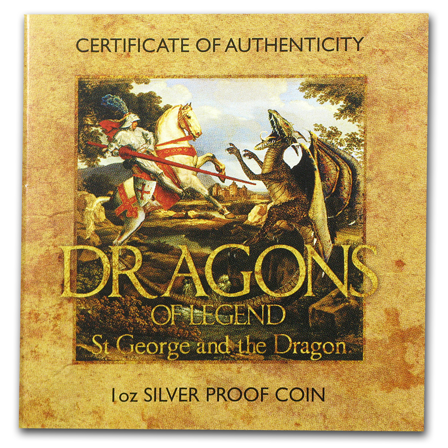 2012 1 oz Proof Silver Dragons of Legend - St George & the Dragon