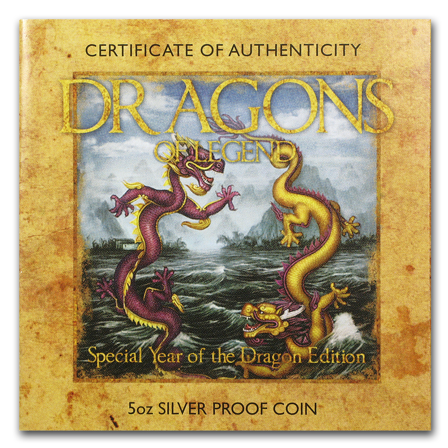 2012 5 oz Silver Dragons of Legend Prf (Year of the Dragon)