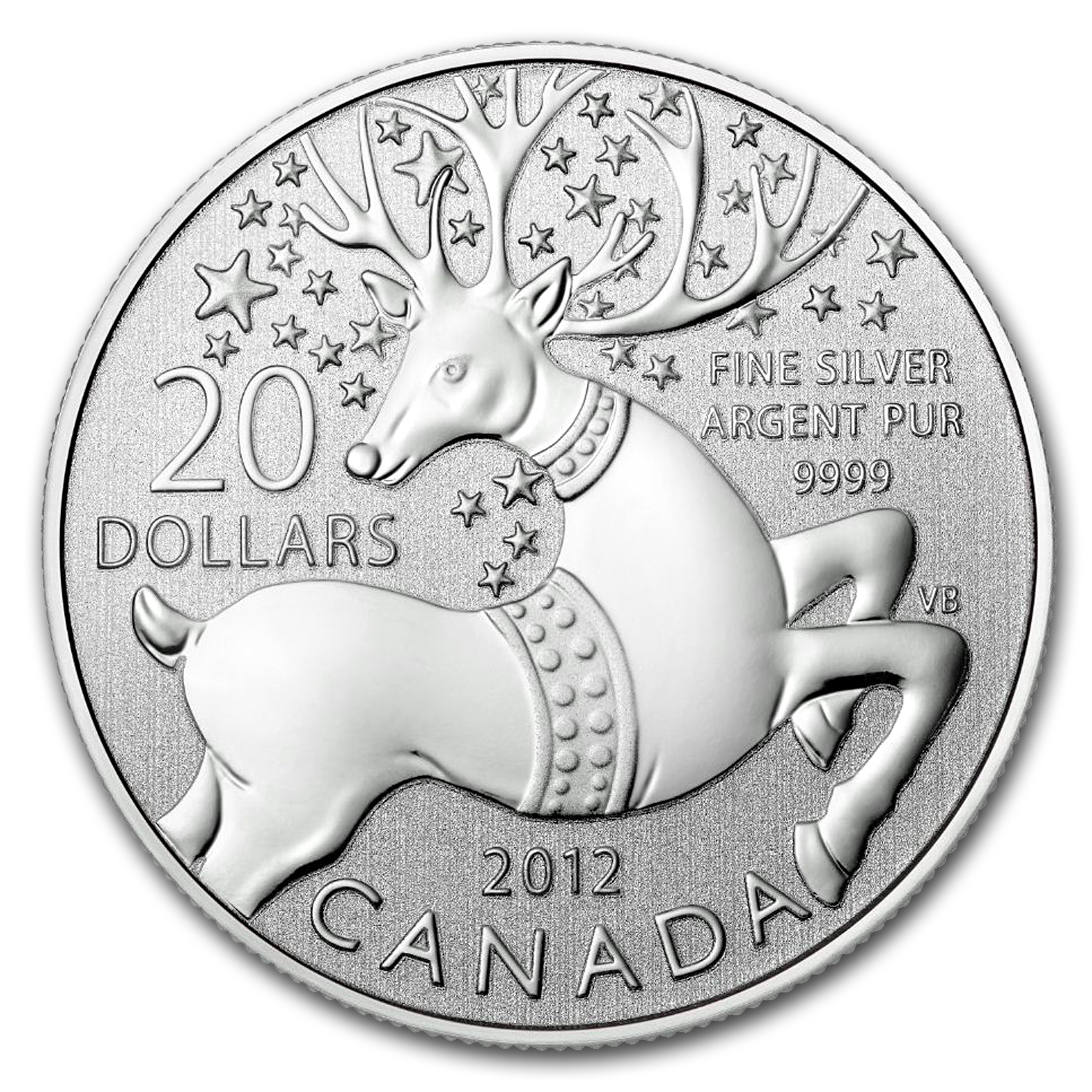 2012 1/4 oz Silver Canadian $20 Coin & COA - Magical Reindeer