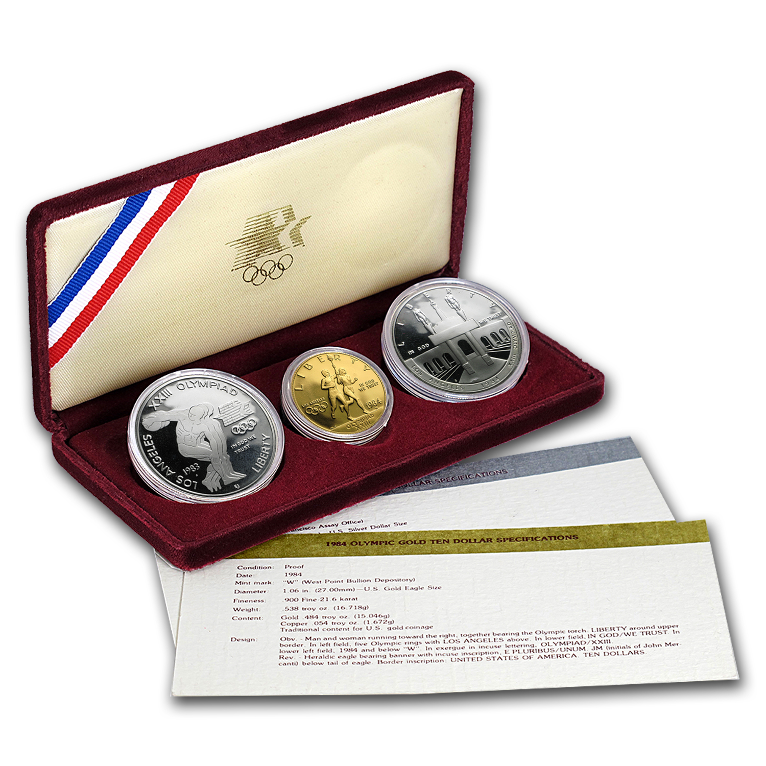1983 & 1984 3-Coin Commem Olympic Proof Set (w/Box & COA)