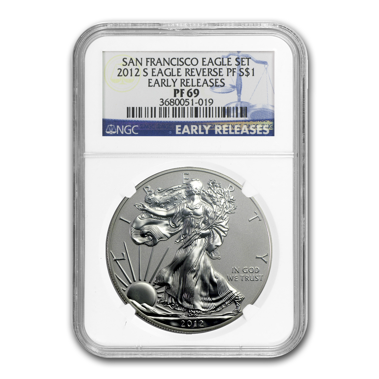 2012-S Reverse Proof Silver Eagle PF-69 NGC (ER, 75th Anniv)