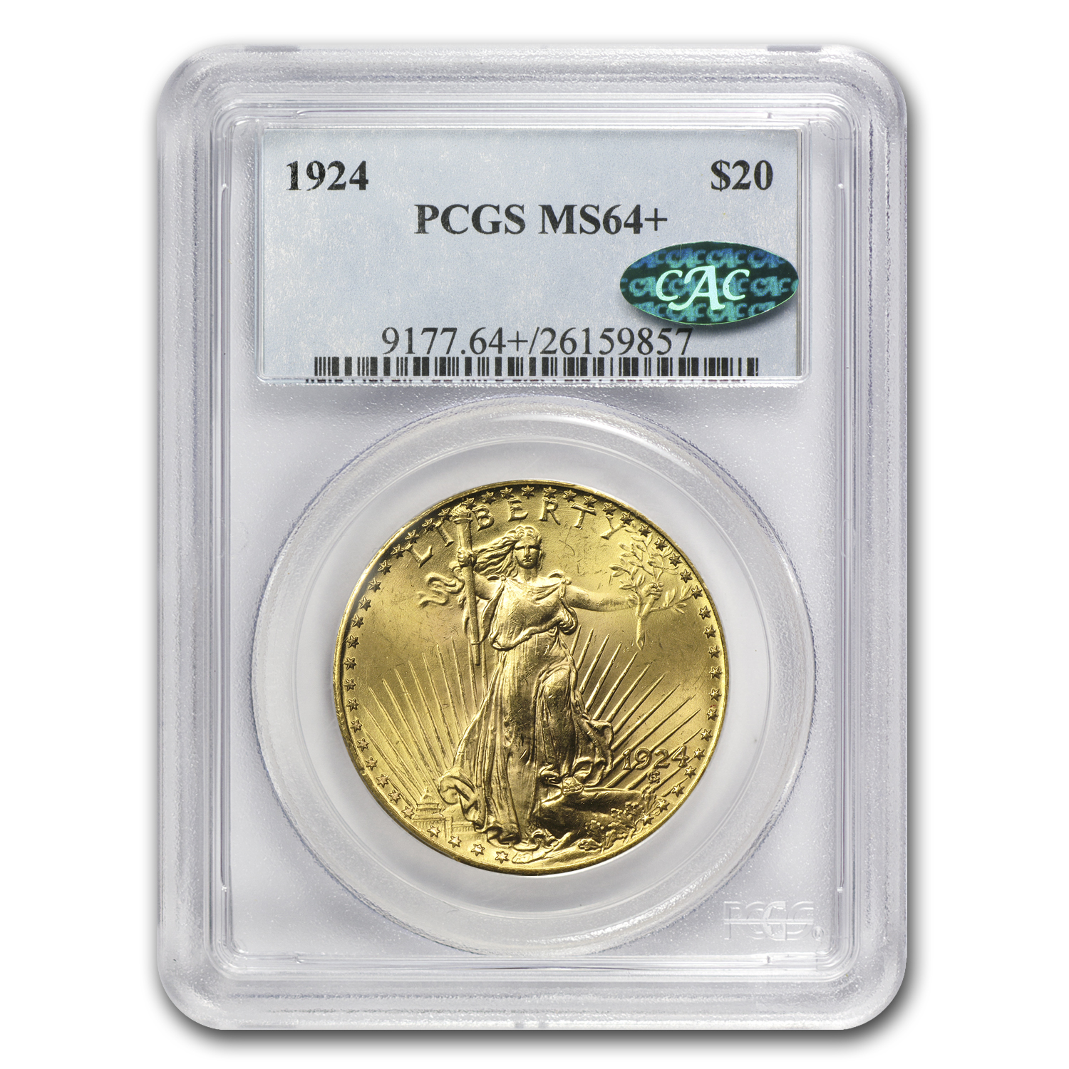 $20 Saint-Gaudens Gold Double Eagle - MS-64+ PCGS/NGC CAC
