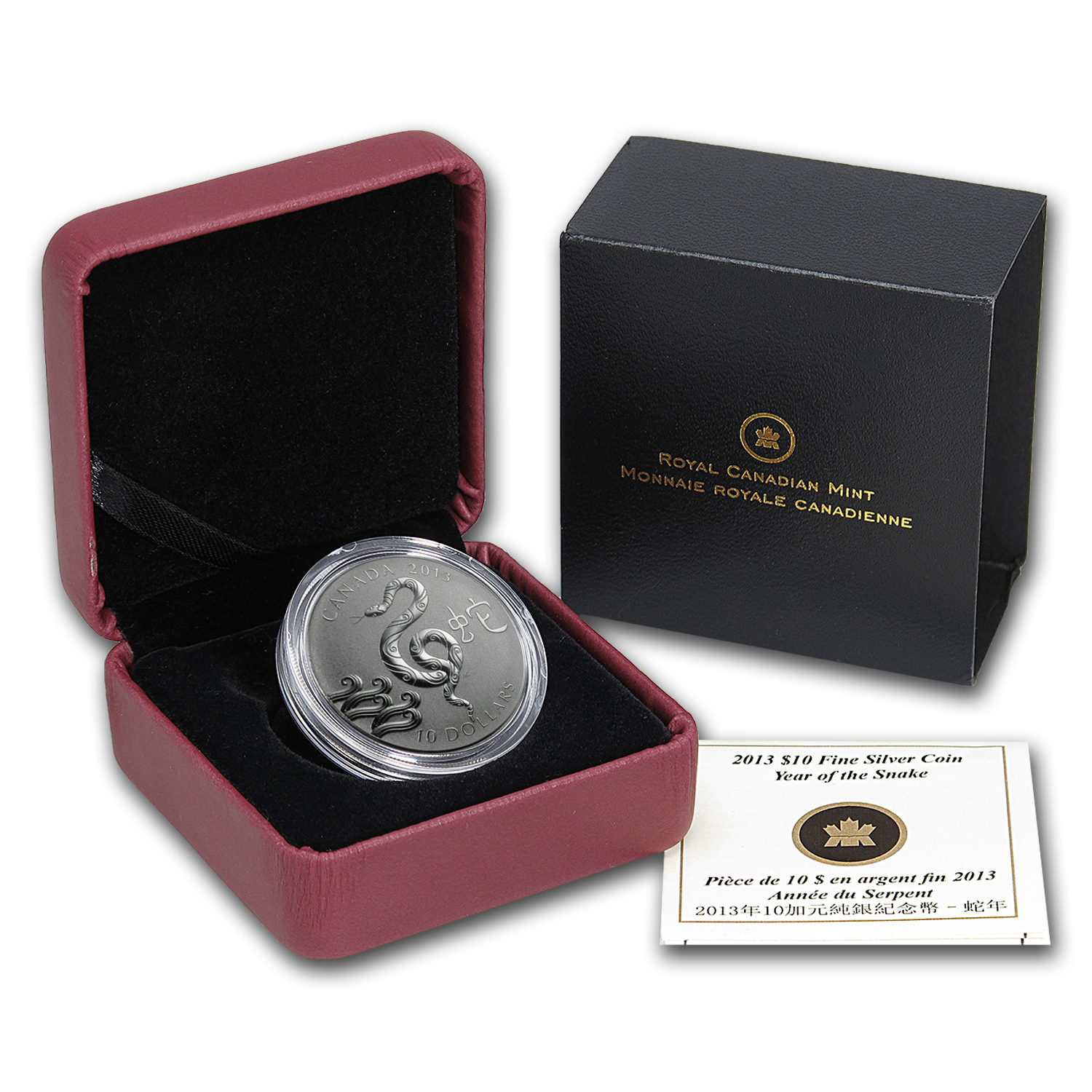 2013 1/2 oz Silver Canadian $10 Year of the Snake (w/Box & COA)