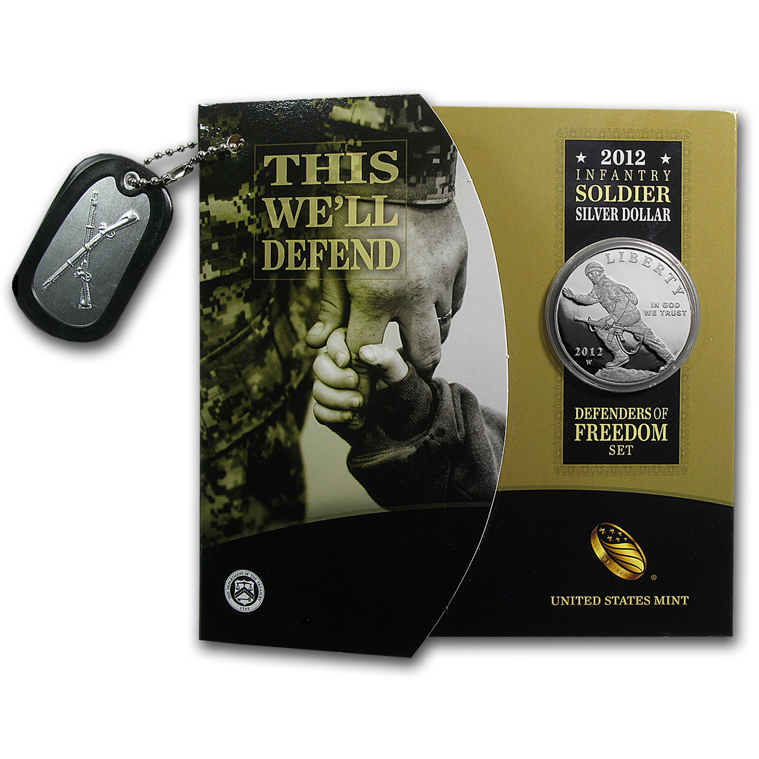 2012 Infantry/Defenders of Freedom $1 Silver Commem Pf Set (Book)
