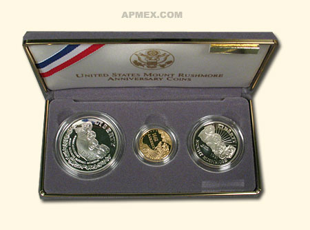 1991 3-Coin Commem Mount Rushmore Proof Set
