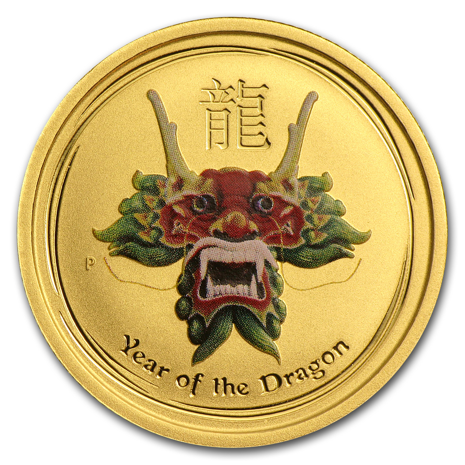 2012 1/4 oz Gold Lunar Dragon BU (SII, Green Colorized)
