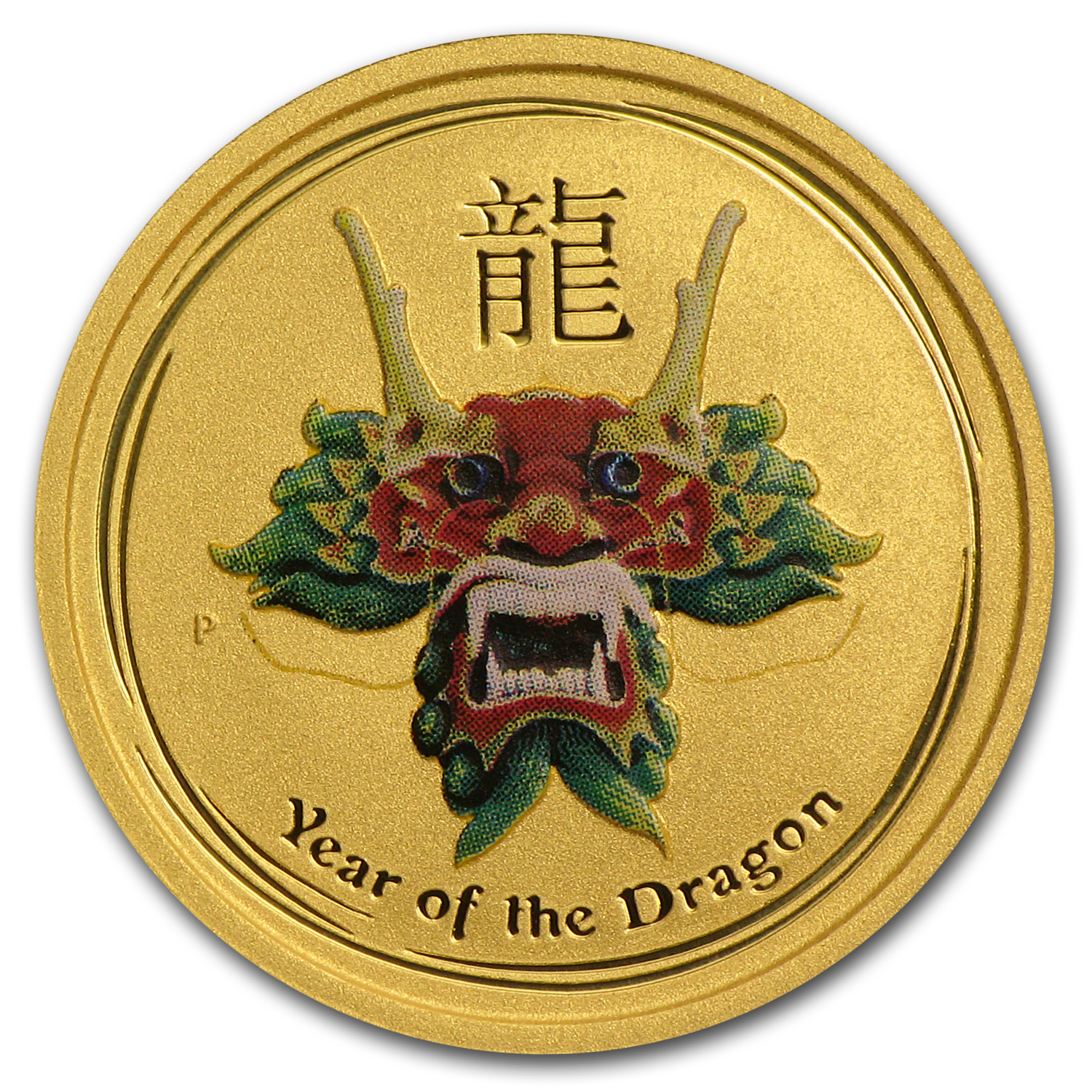 2012 1/10 oz Gold Lunar Dragon BU (SII, Green Colorized)