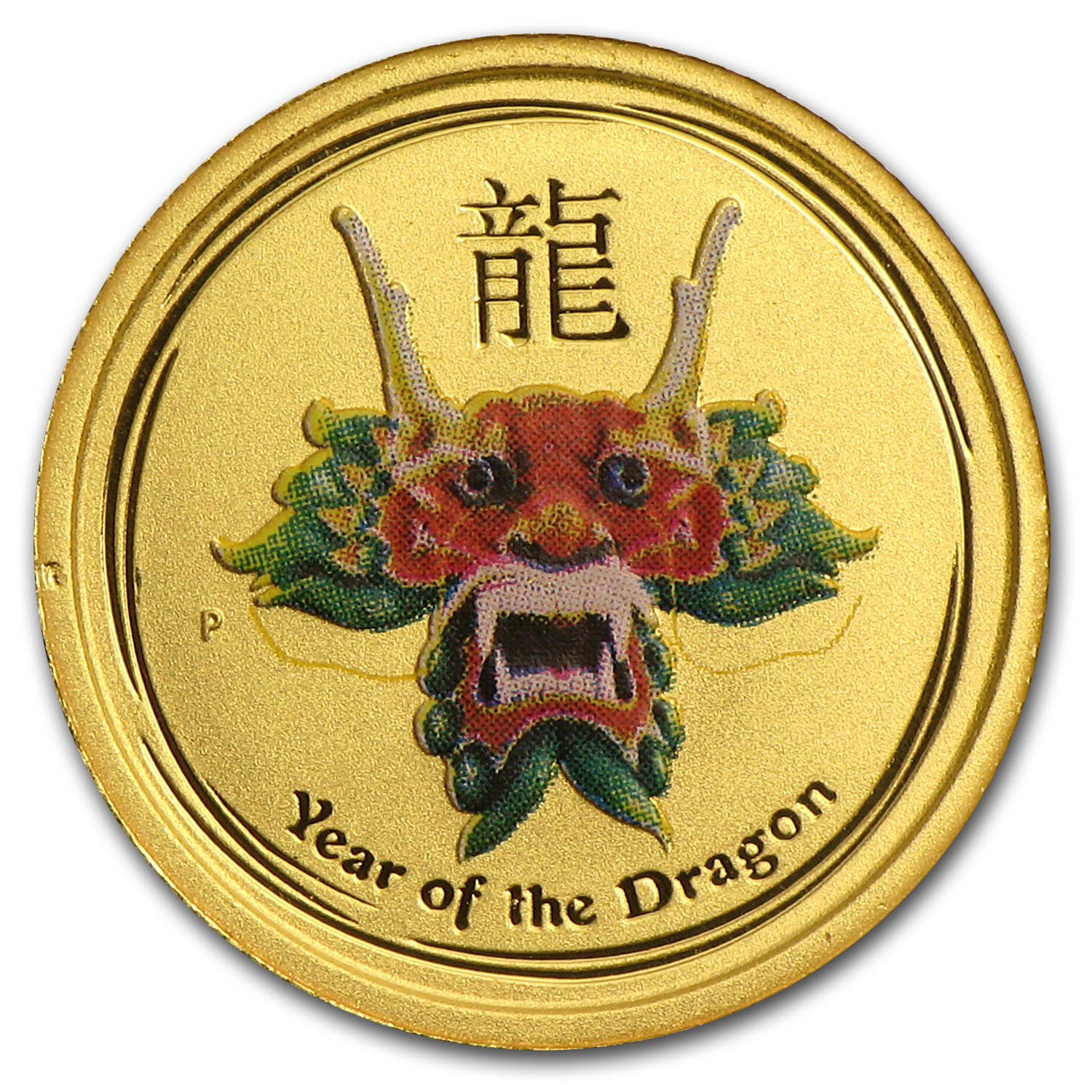 2012 1/20 oz Gold Lunar Dragon BU (SII, Green Colorized)